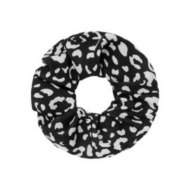 Scrunchie haarelastiek luipaard zwart