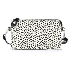 Clutch tas cheetah croco creme