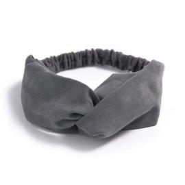 Haarband suede grijs