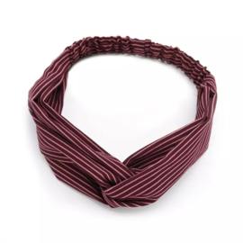 Haarband streepjes rood