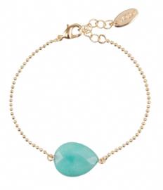 Armband ozom stone turquoise goud