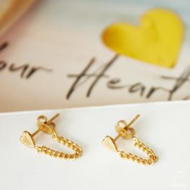Oorbellen chain hart goud
