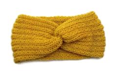 Hoofdband winter knot geel
