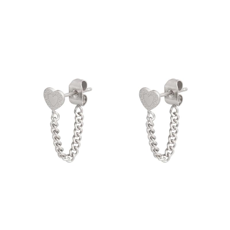 Oorbellen chain hart zilver