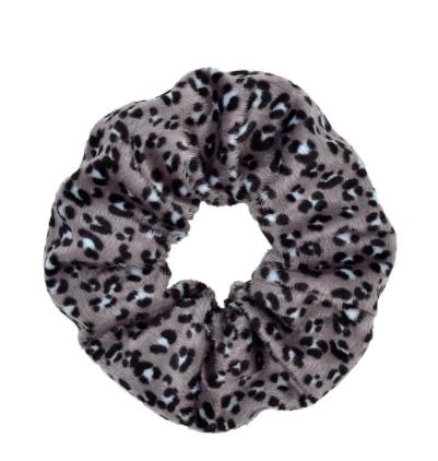Scrunchie fluffy luipaard grijs