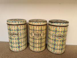 antieke kraaltjes koffie thee suiker bussen