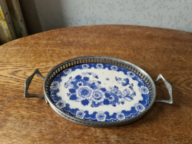 Antiek ovaal porseleinen dienblad delfts blauw