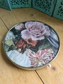 Oud vintage draaiplateau dienblad rijksbloemen rozen