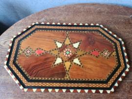 Oud dienblad ingelegd hout