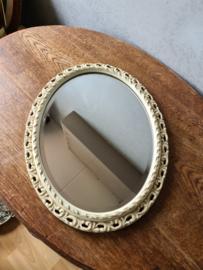 Wit brocante houten spiegel