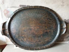 Antiek ovaal gehamerd koperen dienblad
