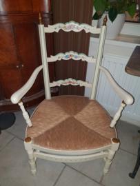 Oud brocante stoel rieten zitting