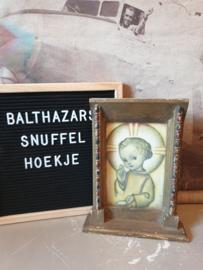 Oud prentje in houten lijst engel