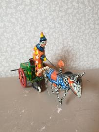 Antiek blikken speelgoed clown met zebra nr2
