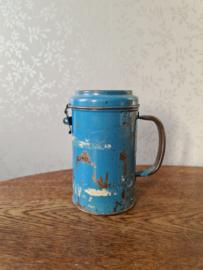 Oud blauw doorleefde collectebus
