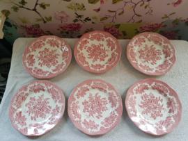 Zes roze engelse ontbijtborden wedgwood asiatic pheasants