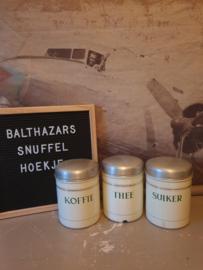 Crème emaille koffie thee suiker bussen gouden bies