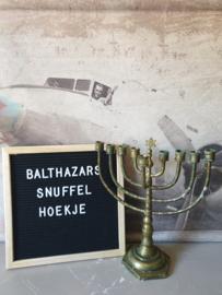 Antiek koperen joodse kandelaar chanoeka
