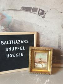 Schilderij hollands winterlandschap molen barok lijst nr2