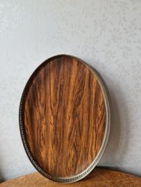 Oud ovaal fineer dienblad