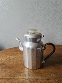 Oude aluminium pruttelpot glazen knop
