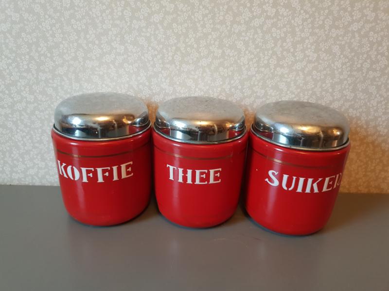 Onwijs Rood emaille koffie thee suiker bussen   verkocht!   balthazars DX-06