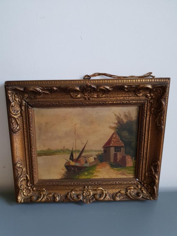 Antieke Schilderij Lijst.Antiek Schilderij Barok Lijst Landschap Schip Verkocht