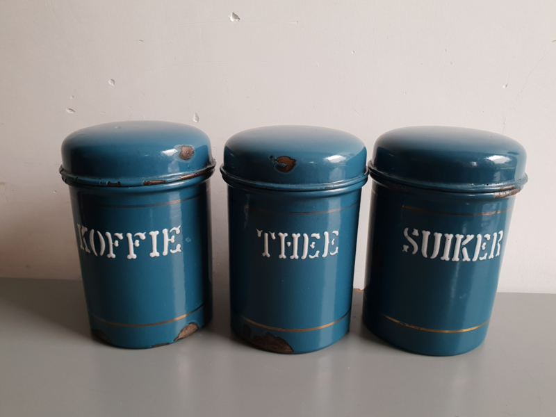 Wonderbaar Petrol blauw emaille koffie thee suiker bussen   verkocht VF-51