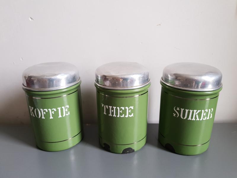 Ongekend Groen emaille koffie thee suiker bussen   verkocht!   balthazars NP-16