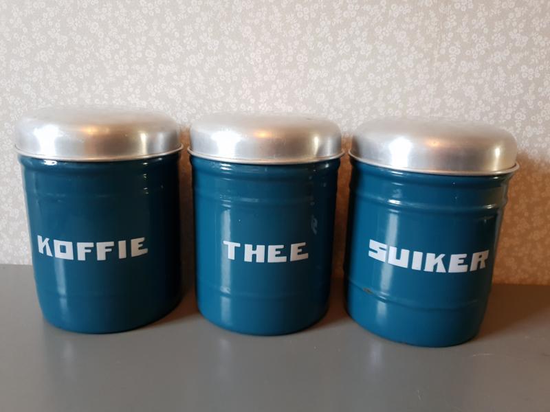 Verbazingwekkend Petrol blauw emaille koffie thee suiker bussen nr2   verkocht ST-18