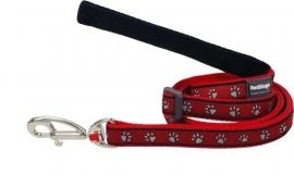 Hondenlijn - Paw Prints Red