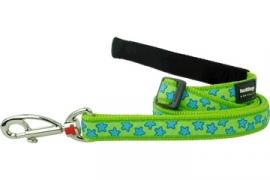 Hondenlijn - Stars Turquoise on Lime Green