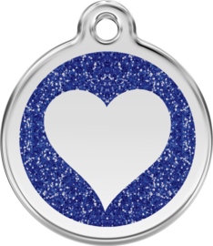 Hartje Glitter (XHT) Donkerblauw - Medium 30mm