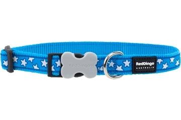 Halsband Hond - Stars White on Turquoise