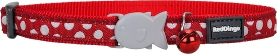 Halsband Kat - White Spots on Red