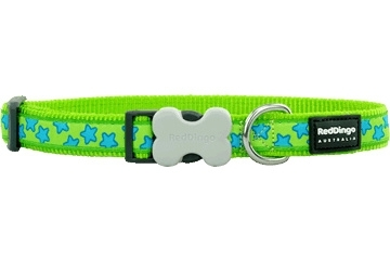 Halsband Hond - Stars Turquoise on Lime Green