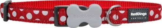 Halsband Hond - White Spots on Red