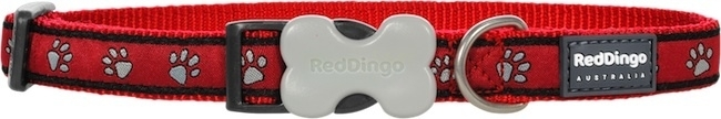 Halsband Hond - Paw Prints Red