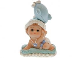 Baby op kussentje blauw