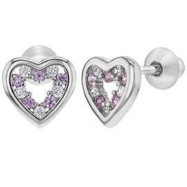 Zilveren kinderoorbellen: Hartje met schroefsluiting roze