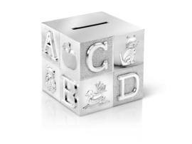 Spaarpot kubus (verzilverd)