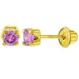 Gouden kinderoorbellen: Roze crystal met schroefsluiting