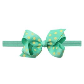 Haarbandje met groen en gele strik