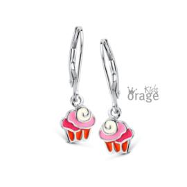 Zilveren kinderoorbellen Brisuresluiting:  Cupcake (ORAGE)