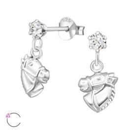 Zilveren kinderoorbellen:  Hangende paardenhoofden Swarovski®
