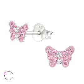 Kinderoorbellen: Kleine vlinders met roze swarovski steentjes