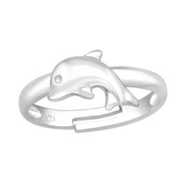 Zilveren kinderringen Dolfijn