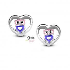 Zilveren kinderoorbellen: Uiltje (Gento for kids)