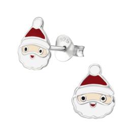 Zilveren kinderoorbellen:  Kerstmannetje