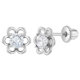 Zilveren kinderoorbellen: bloemetje met schroefsluiting